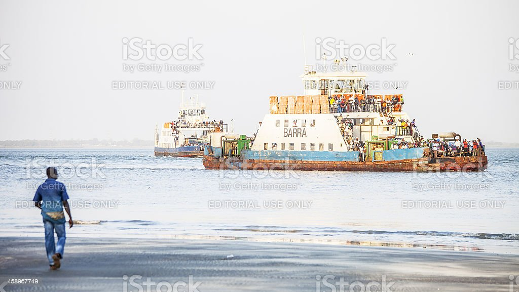 Boats full of people. stock photo