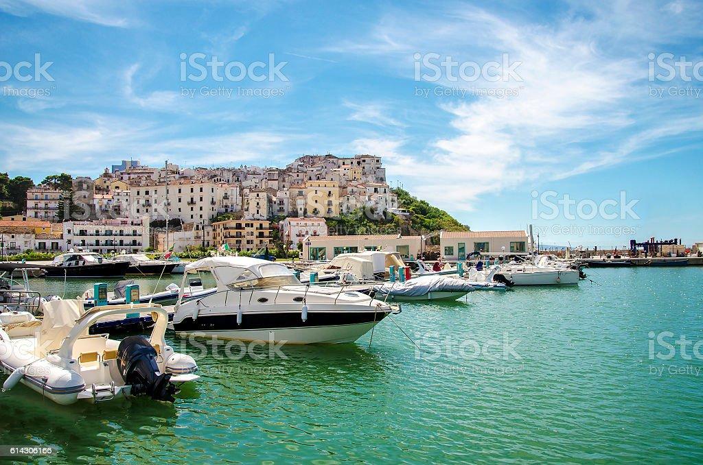 boats harbor typical Italian seaside village Rodi Garganico Gargano stock photo