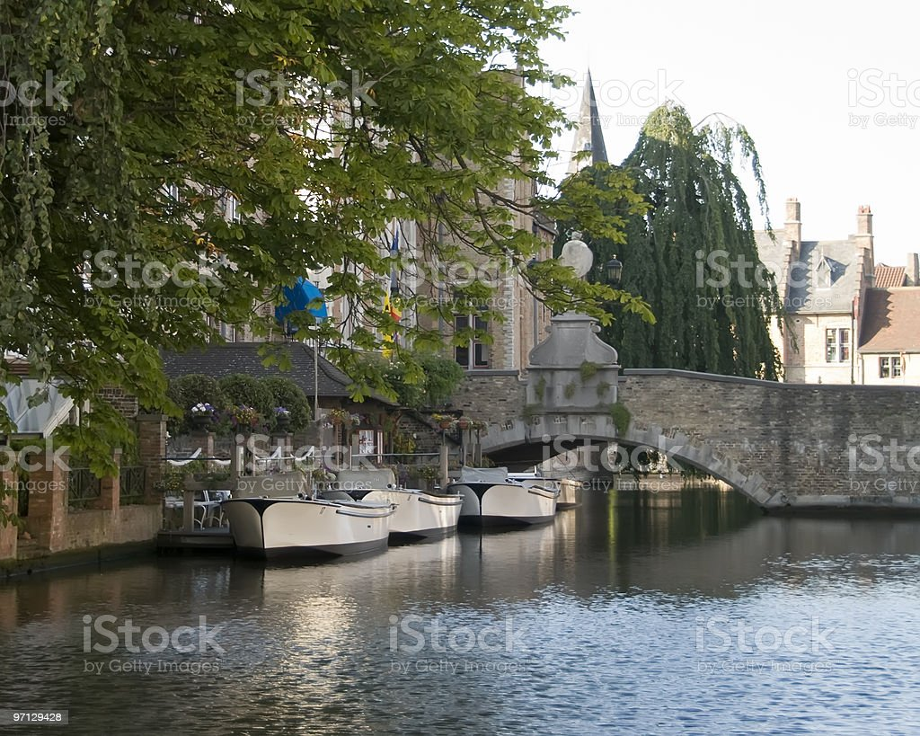 Boats in a canal of Brugge royalty-free stock photo