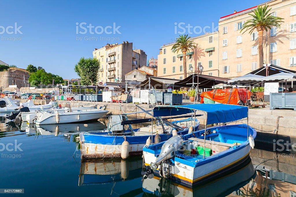 Boats in Ajaccio, South Corsica, France stock photo