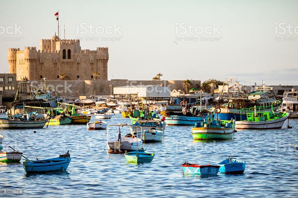 Boats in Alexandria, Egypt stock photo