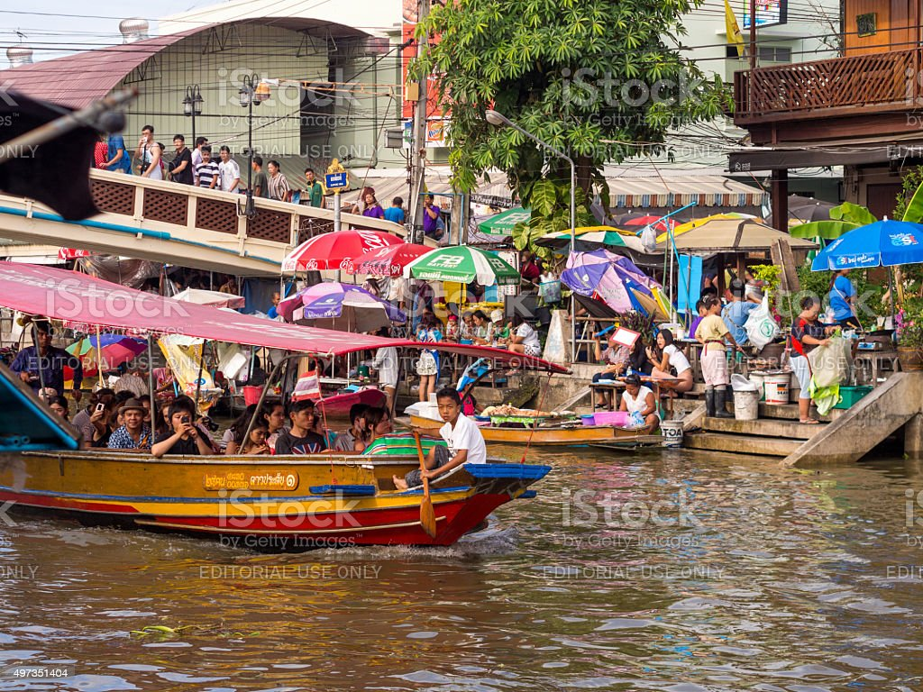 Boats in Amphawa Floating Market stock photo