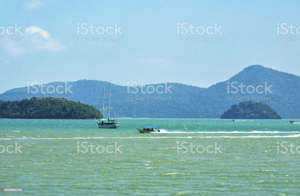 Boats in Andaman sea stock photo