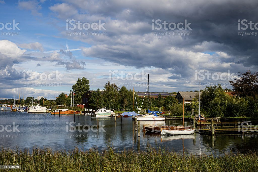Boats in Arnis Schlei Baltic Sea stock photo