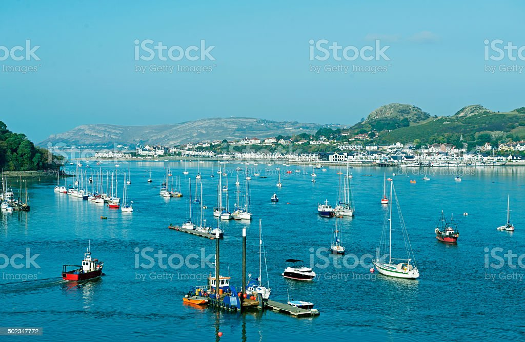 Boats in bay at Conwy River in north Wales UK stock photo