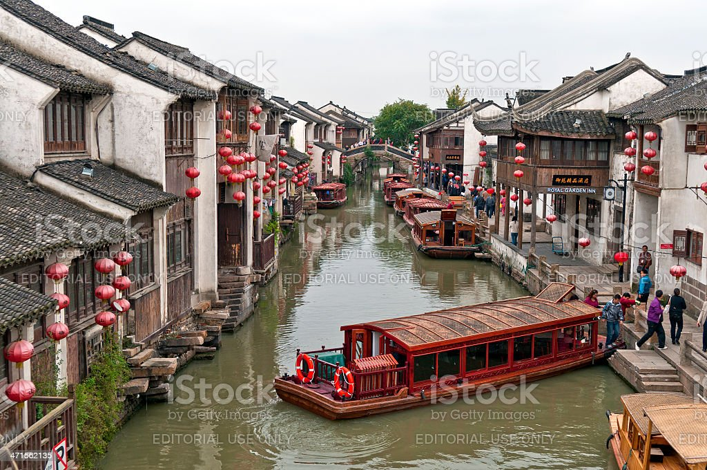 Boats in Beautiful Suzhou The Venice of China royalty-free stock photo