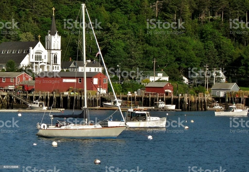 Boats in Boothbay Harbor stock photo