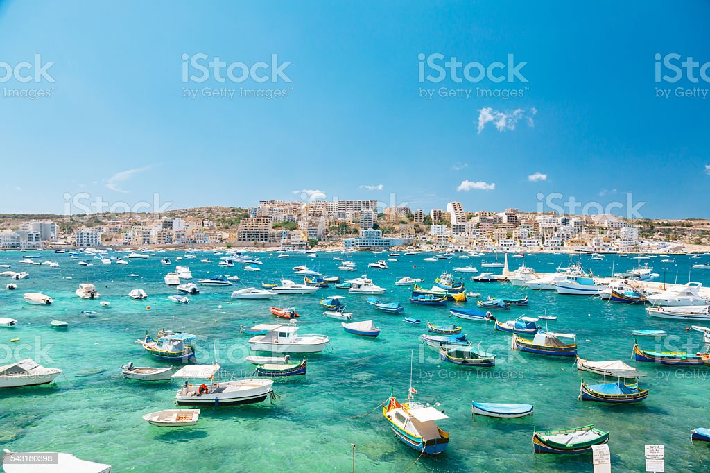 Boats in Bugibba bay, Malta stock photo