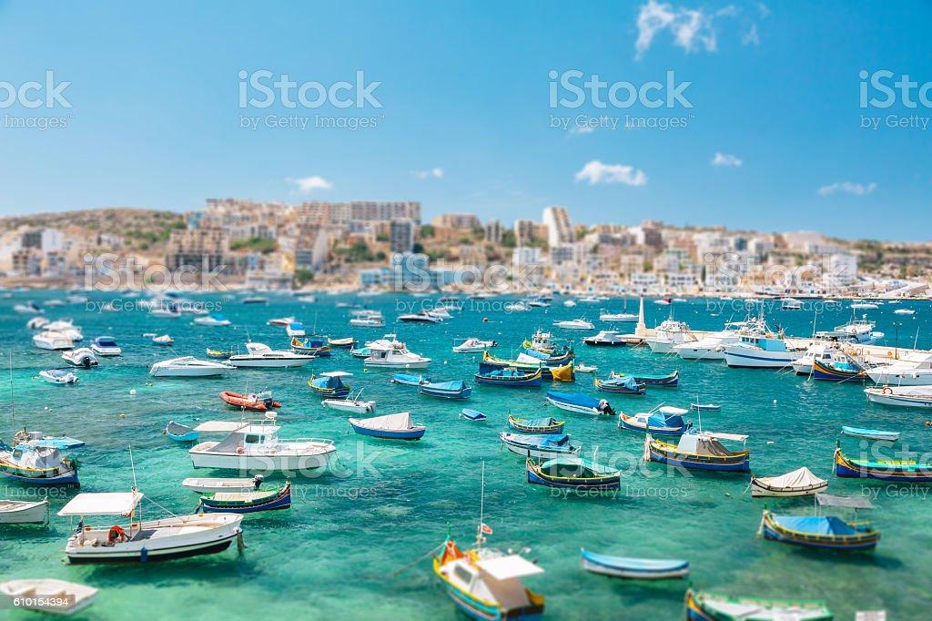 Boats in Bugibba bay, Malta stock photo