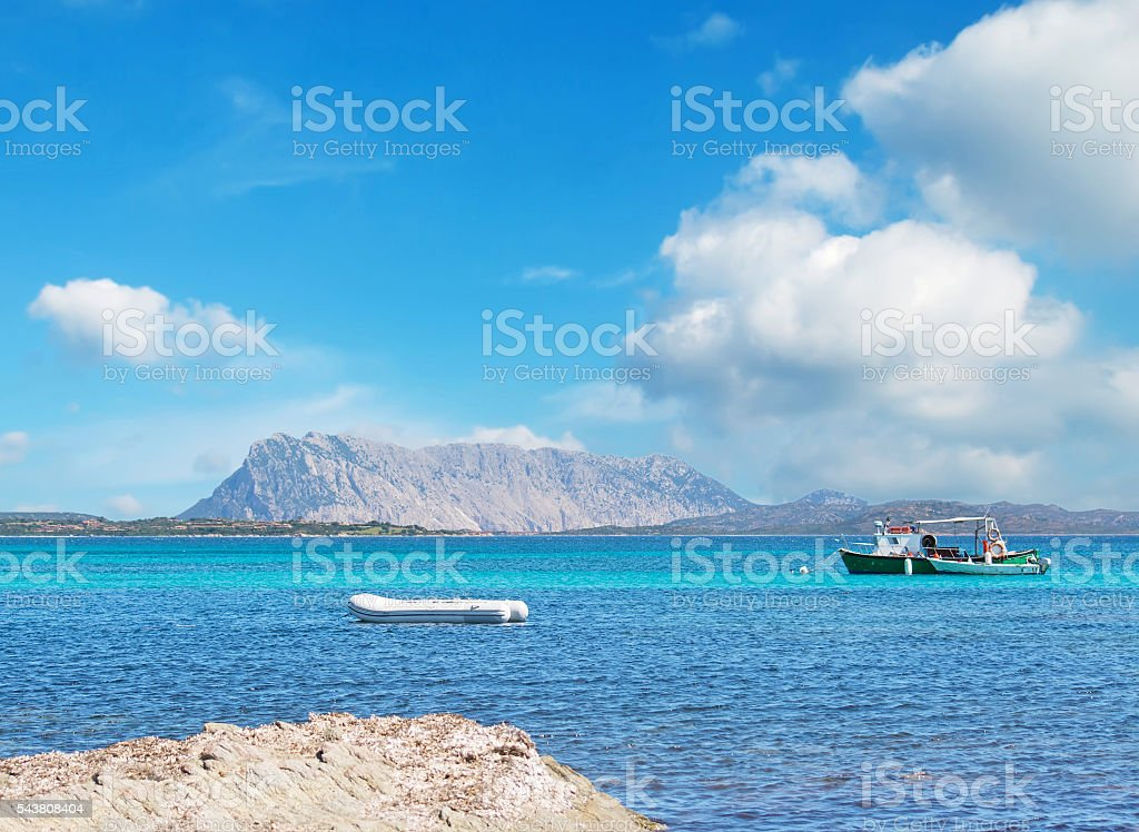 boats in Cala d'Ambra stock photo
