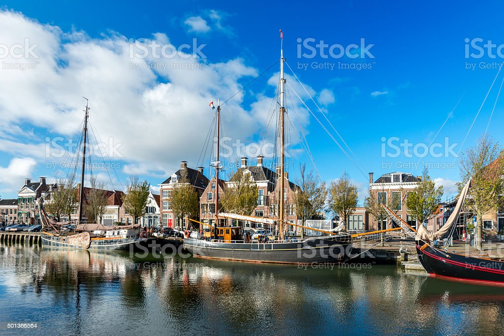boats in  canal in Harlingen, Friesland, Netherlands stock photo
