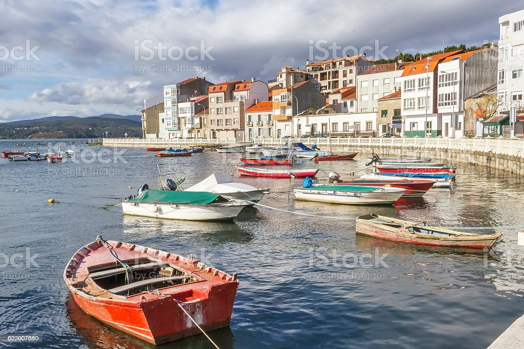 Boats in Carril city stock photo