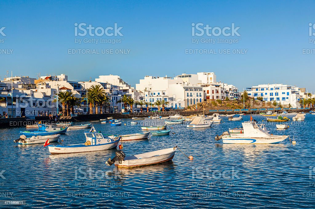 boats in charco de San Gines, old harbor of Arrecife stock photo