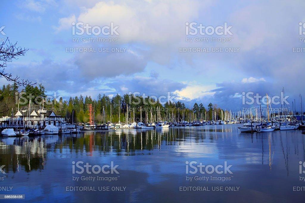 Boats in Coal Harbor Marina stock photo