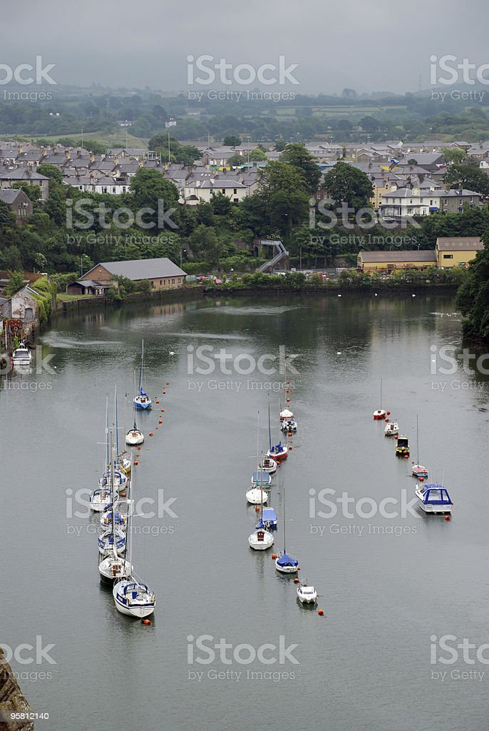 Boats in Conwy, Wales royalty-free stock photo