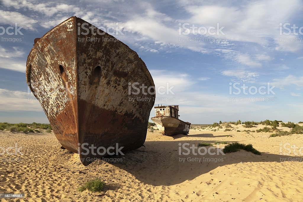 Boats in desert around Moynaq, Muynak or Moynoq stock photo