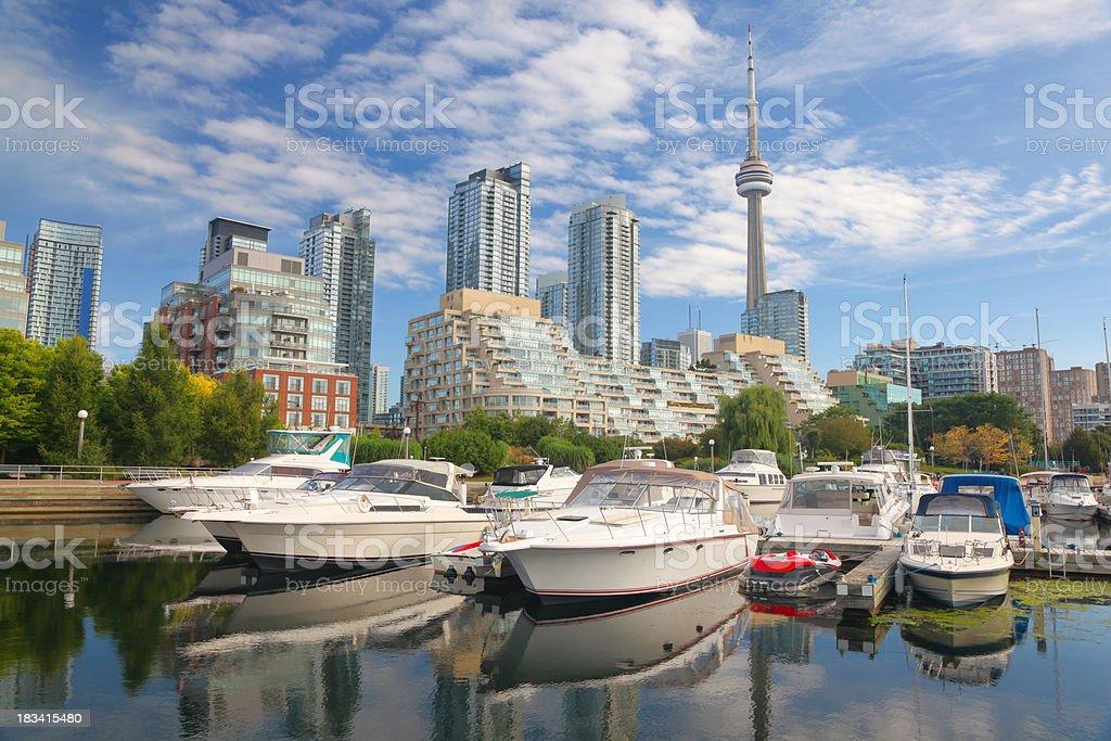 Boats in Downtown Toronto city marina stock photo