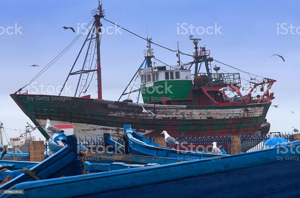 Boats in Essaouira Harbour, Morocco stock photo