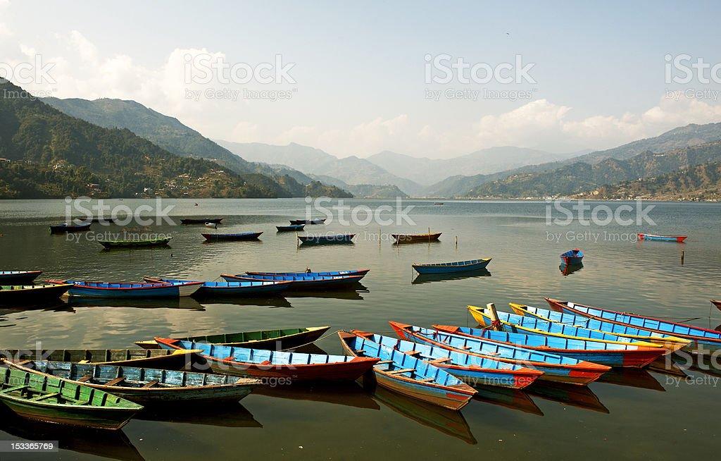 Boats in fewa lake royalty-free stock photo