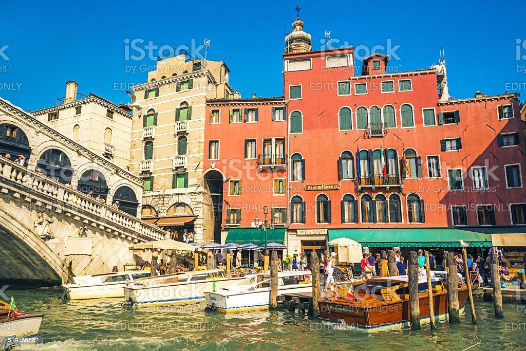 Boats in front of Rialto bridge, Venice, Italy stock photo