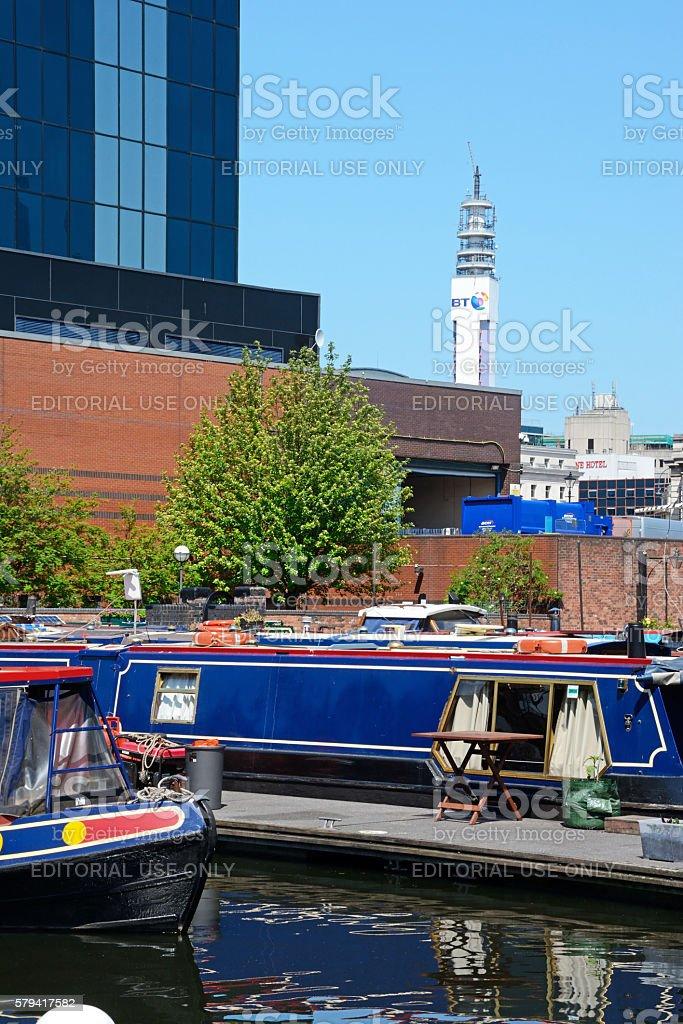 Boats in Gas Street Basin, Birmingham. stock photo