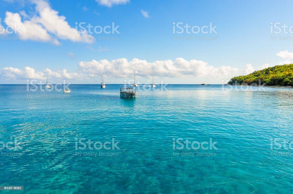 Boats in Great Barrier Reef  Australia stock photo
