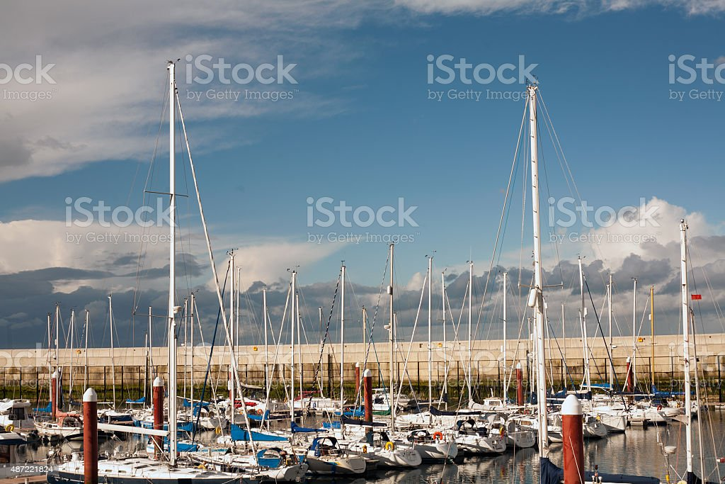 Boats in Greystones marina harbor royalty-free stock photo