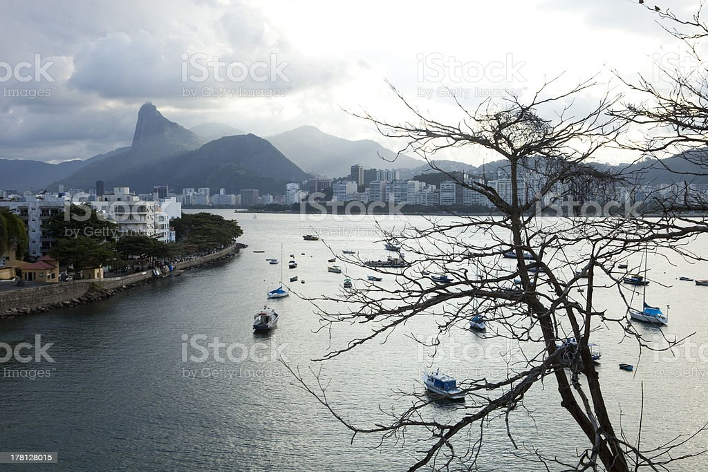 boats in Guanabara Bay royalty-free stock photo