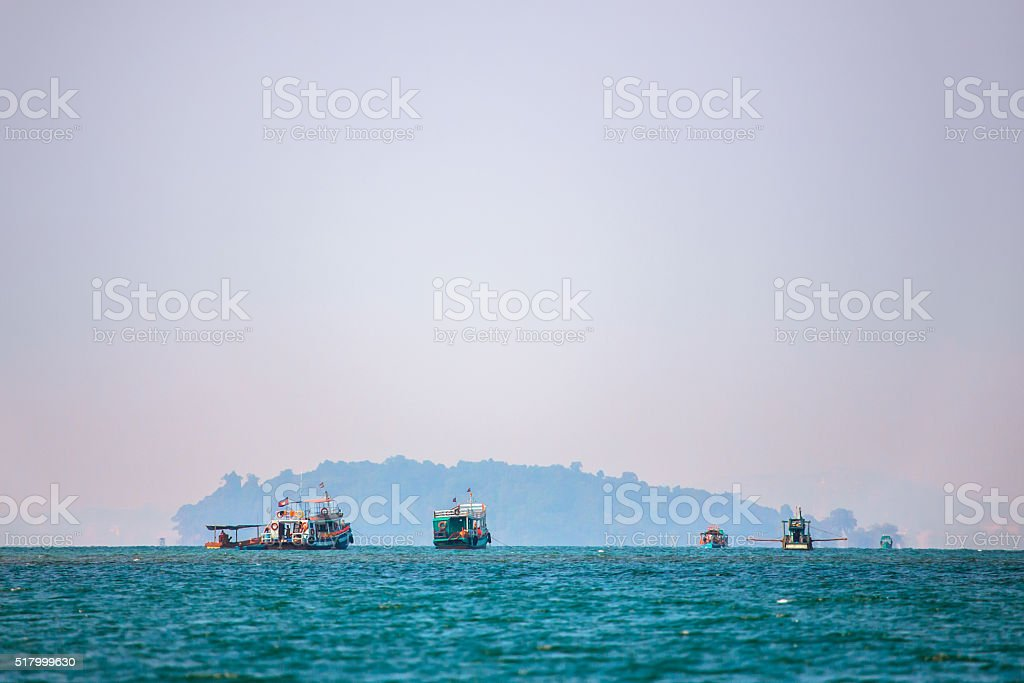 Boats in Gulf of Thailand stock photo