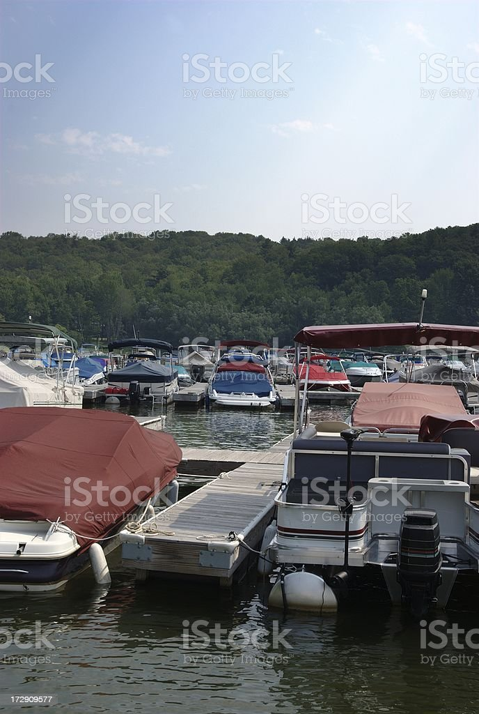 Boats in Harbor stock photo