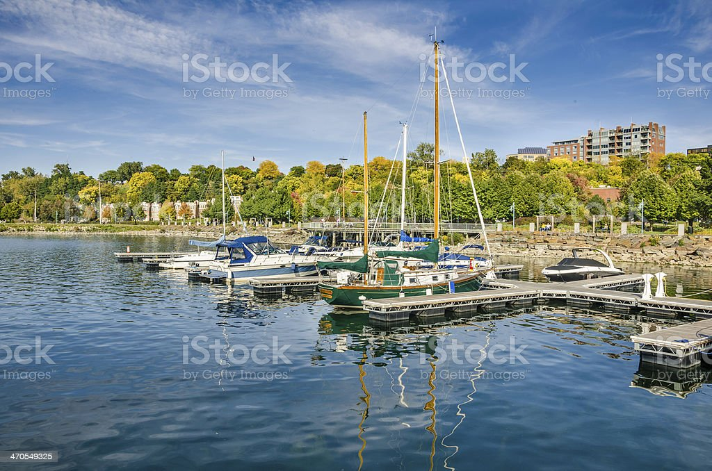 Boats in Harbour and Autumn Colours stock photo