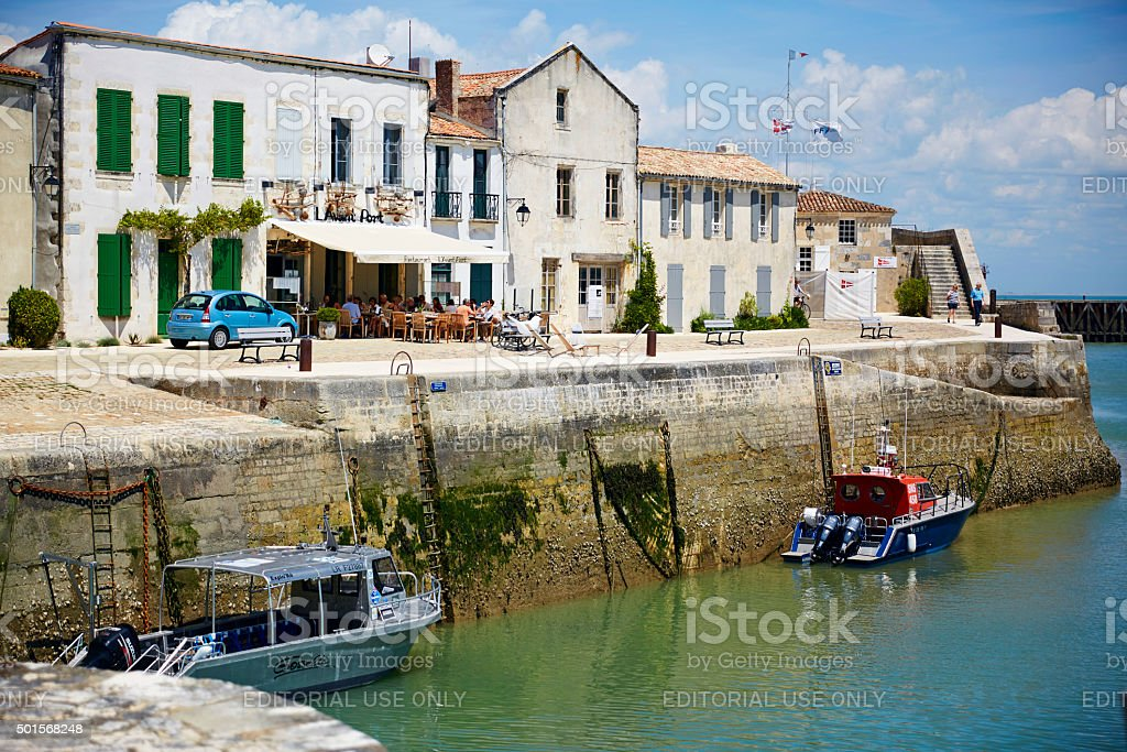 Boats in harbour at St Martin-De-Re stock photo