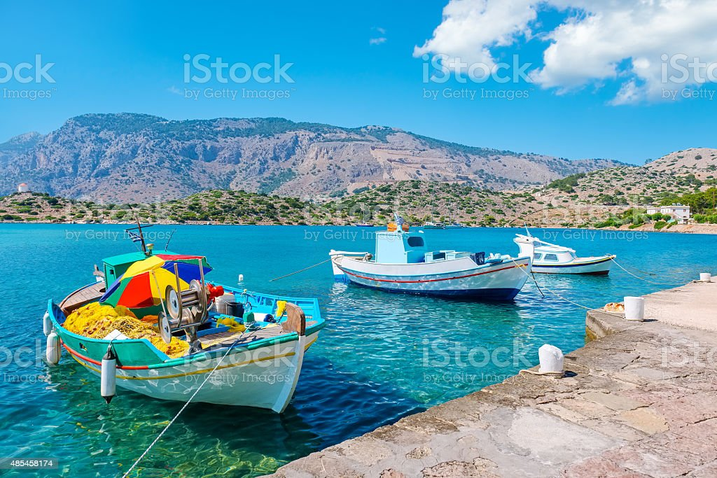 Boats in harbour. Symi, Greece stock photo