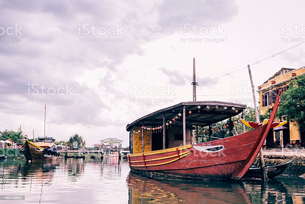 Boats in Hoi An, Vietnam stock photo