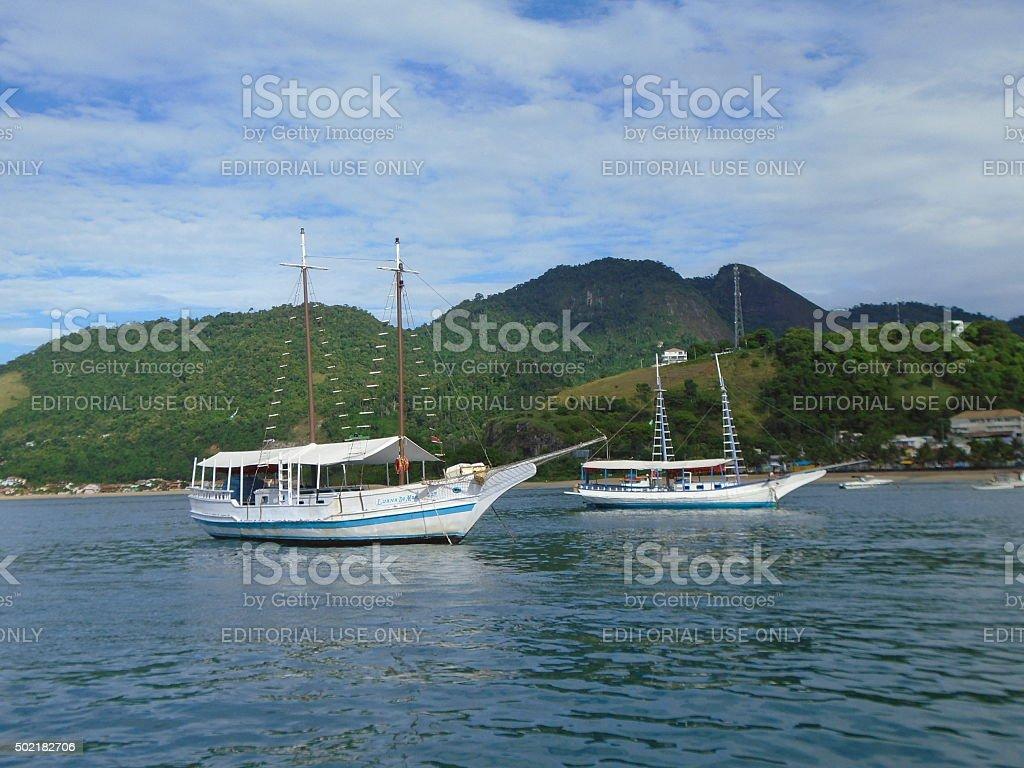 Boats in Ilha Grande, Rio de Janeiro, Brazil stock photo