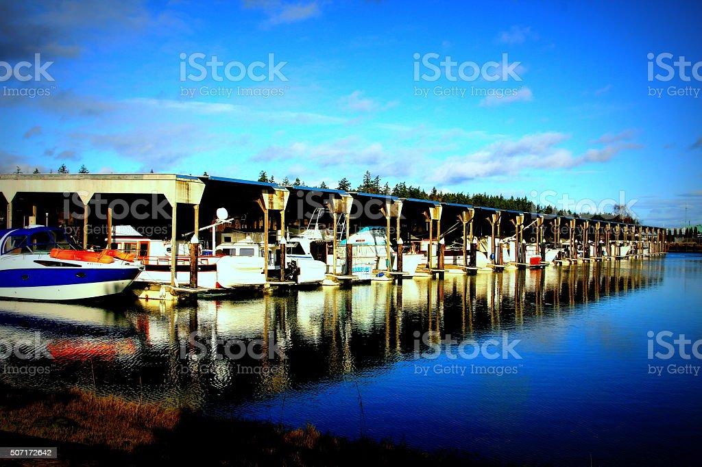 Boats in La Conner,WA stock photo