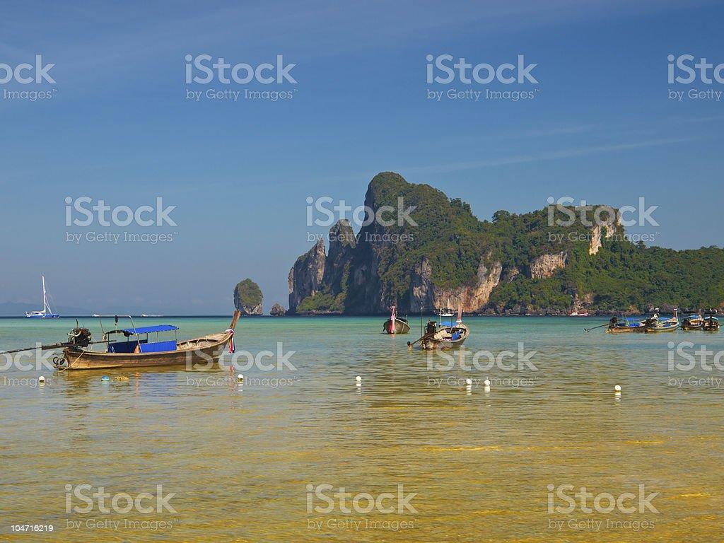 Boats in lagoon stock photo