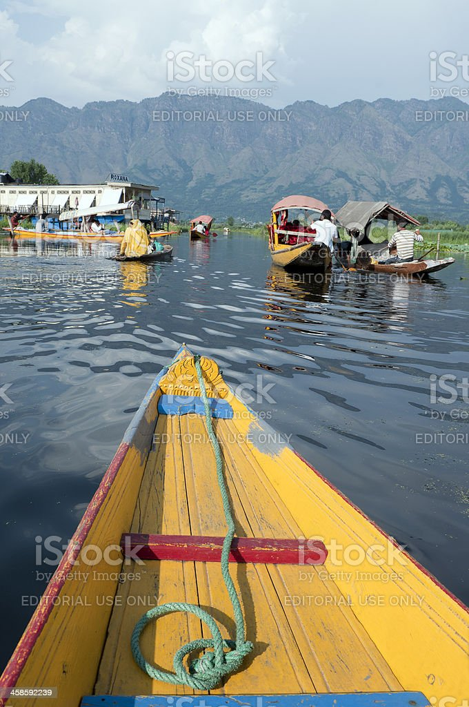 Boats in Lake Dal Kashmir India stock photo