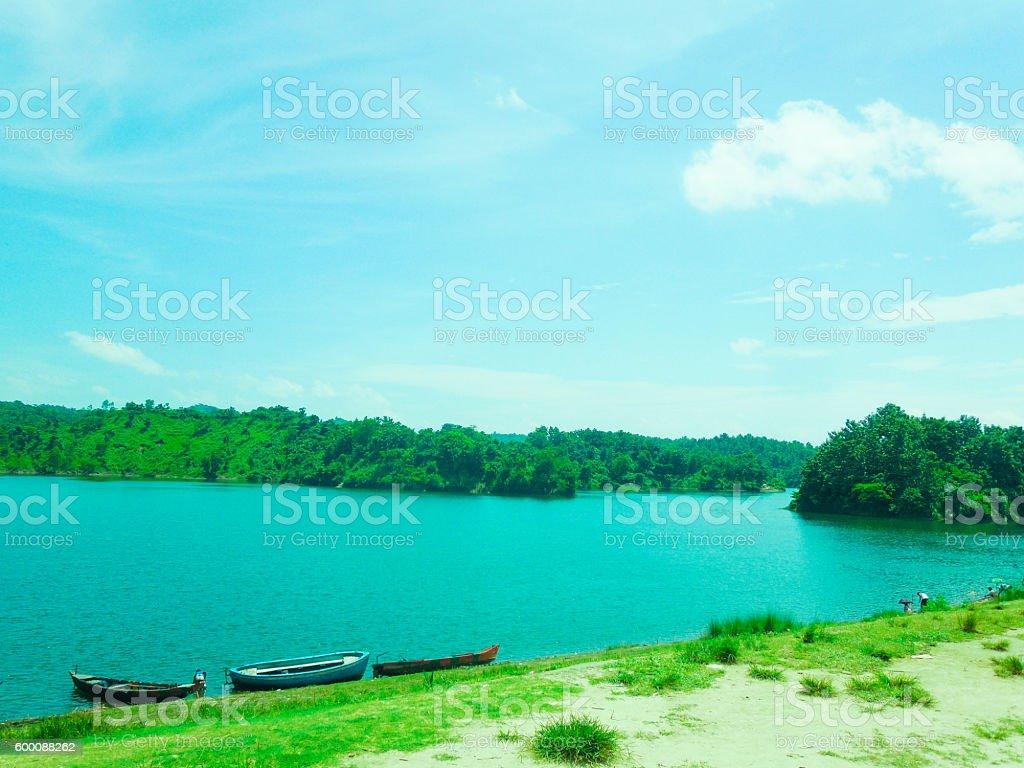 Boats in lake stock photo
