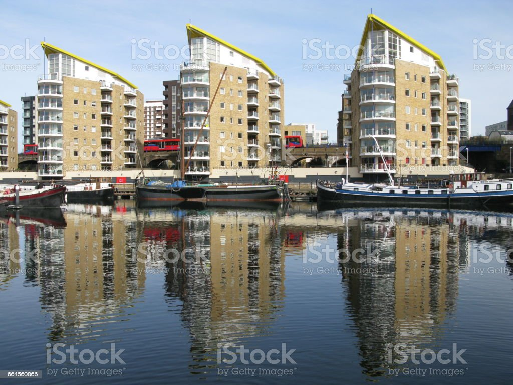 Boats in Limehouse Basin, London, England, UK stock photo
