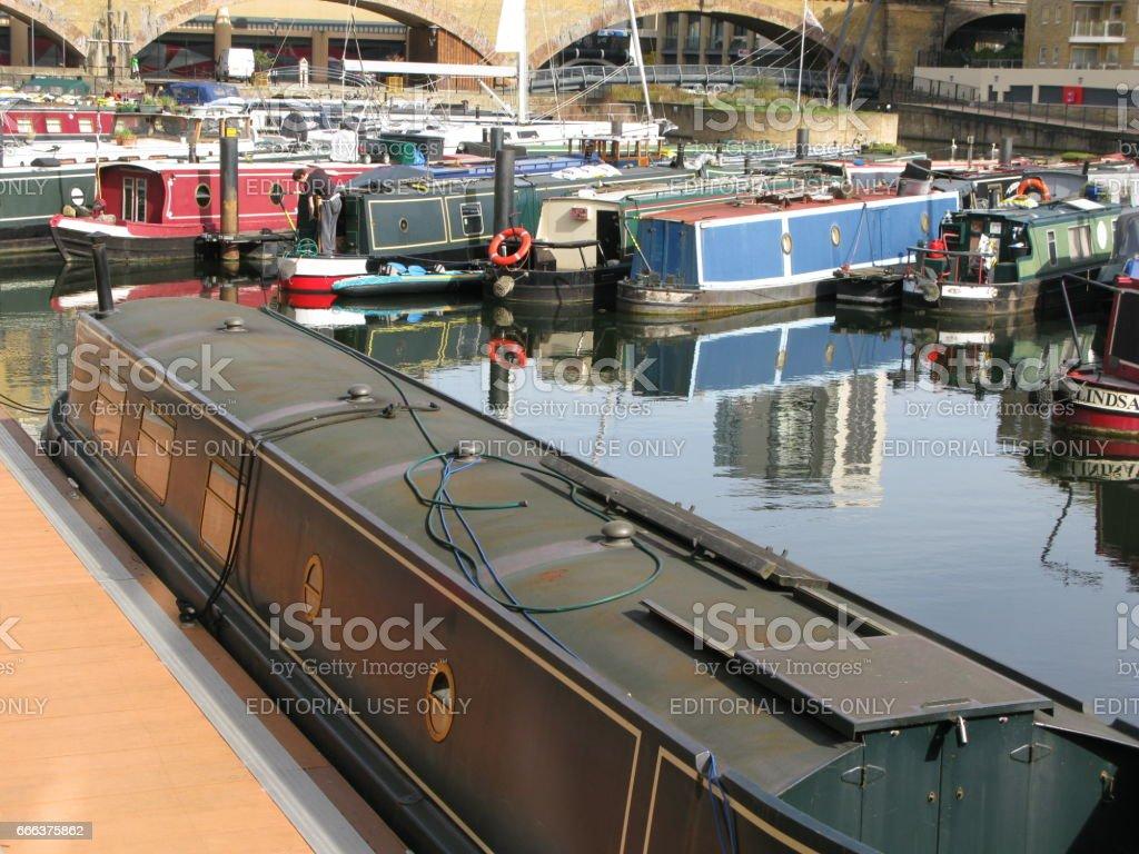 Boats in Limehouse Basin, London, England, UK stock photo