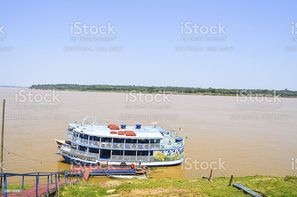 Boats in line at Madeira River - Amazonia region (closeup) stock photo