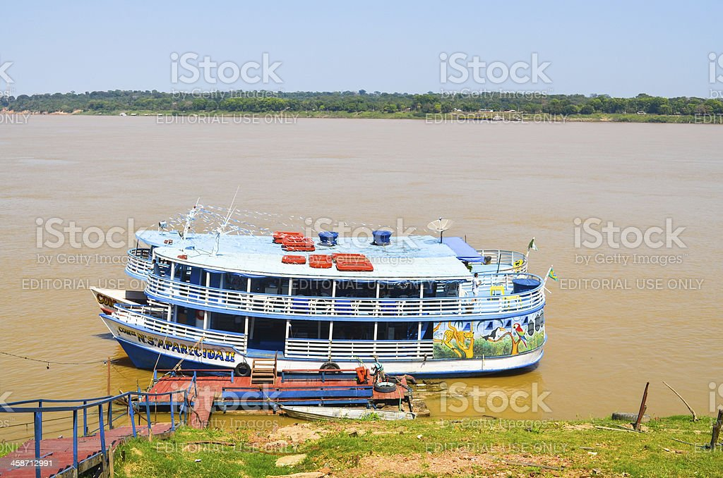 Boats in line at Madeira River - Amazonia region (wide) stock photo