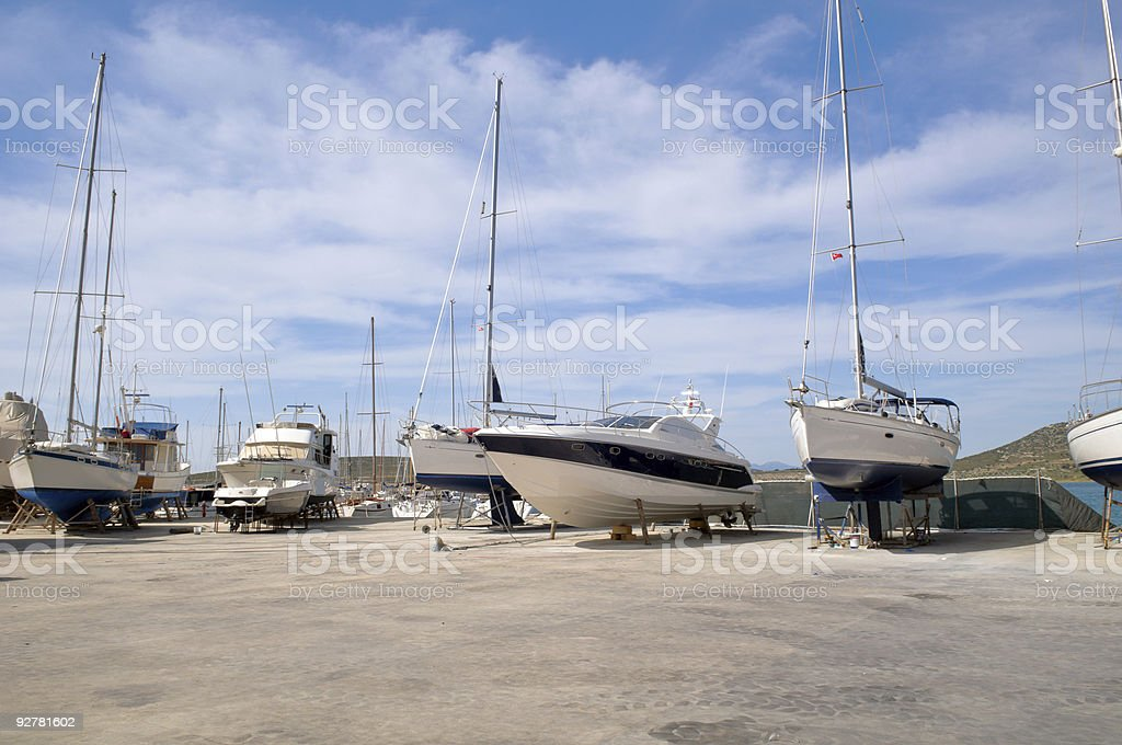 Boats in maintenance royalty-free stock photo