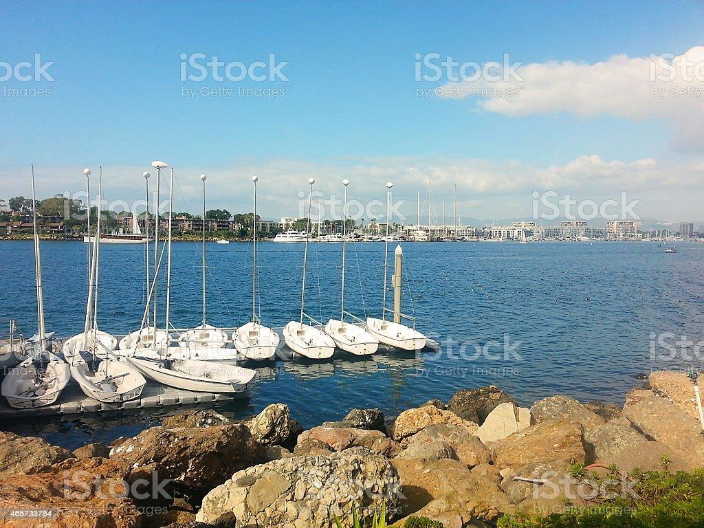 Boats in Marina Del Rey, California stock photo