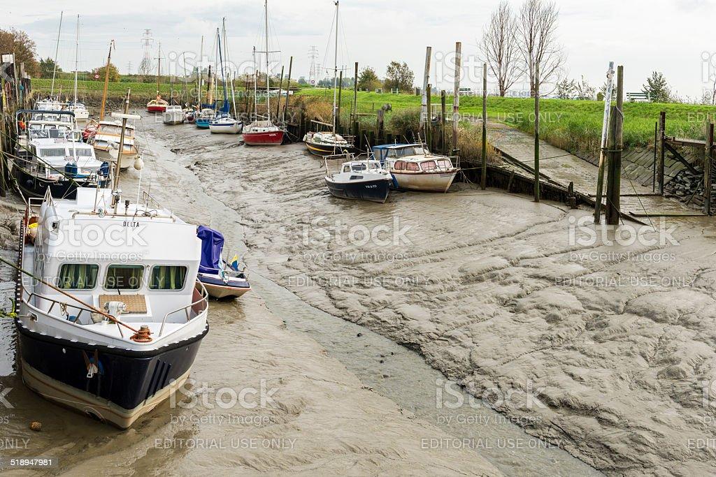 Boats in marina Lillo, Belgium stock photo