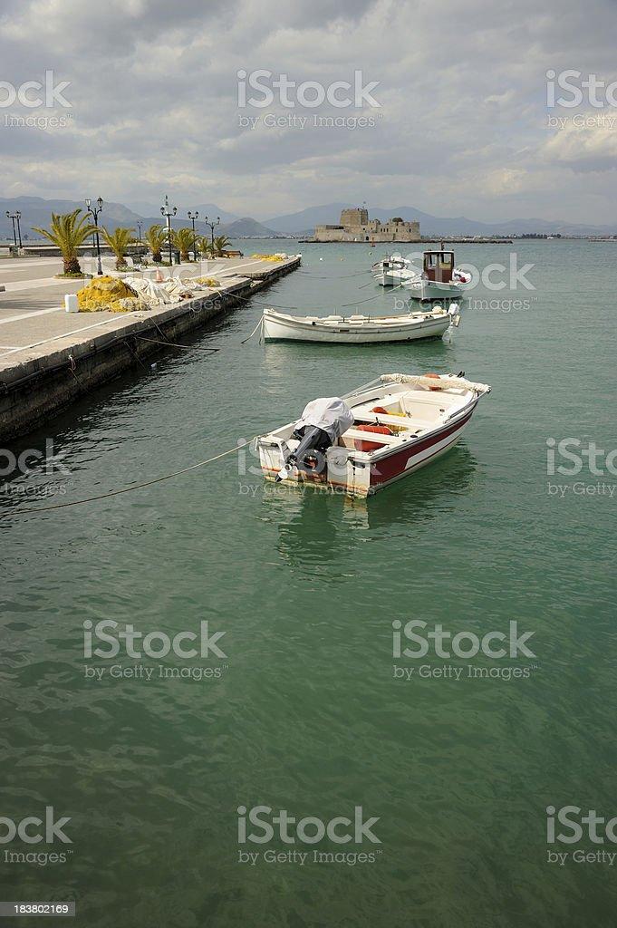 Boats in Nafplio Port stock photo
