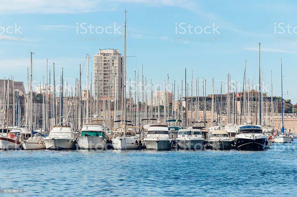 boats in ocean at Old Port of Marseille stock photo
