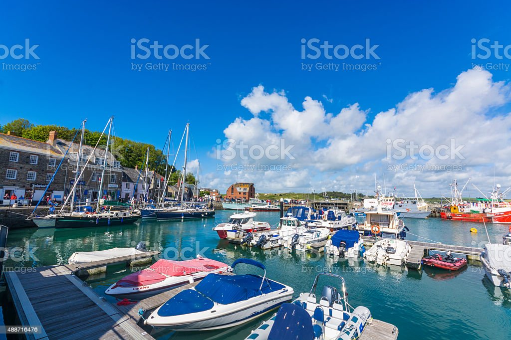 boats in Padstow traditional fishing harbour at  Cornwall stock photo