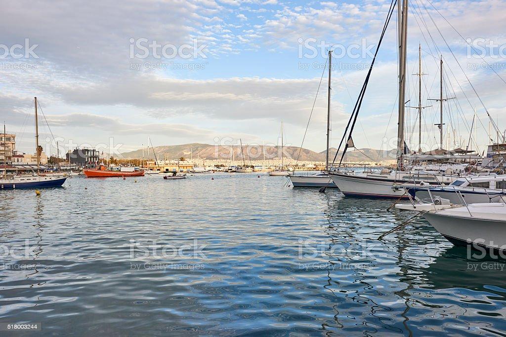Boats in Piraeus stock photo